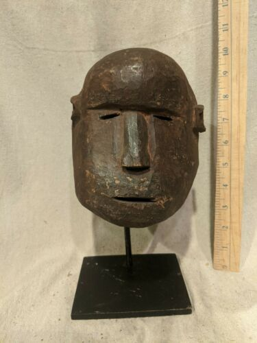 Makua Mask from Tanzania with Display Stand — Authentic Carved African Wood Art