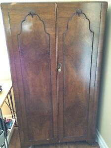 Antique English Art Deco Wardrobe