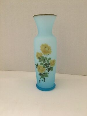 "Vase Gold Trim 8"" Blue Frosted Glass Yellow Floral Art Made In Japan EUC"