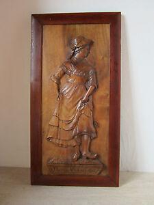 ancien cadre panneau bois sculpte danse villageoise personnage art populaire ebay. Black Bedroom Furniture Sets. Home Design Ideas