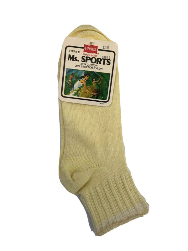 Vintage Hanes Ms. Sport Socks Womens Size 9-11 NOS NWT 80s made in USA