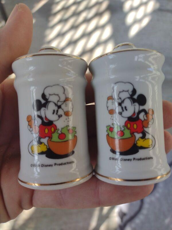 Chef Mickey Mouse Salt & Pepper Shakers VINTAGE Walt Disney Prod. Made in Japan