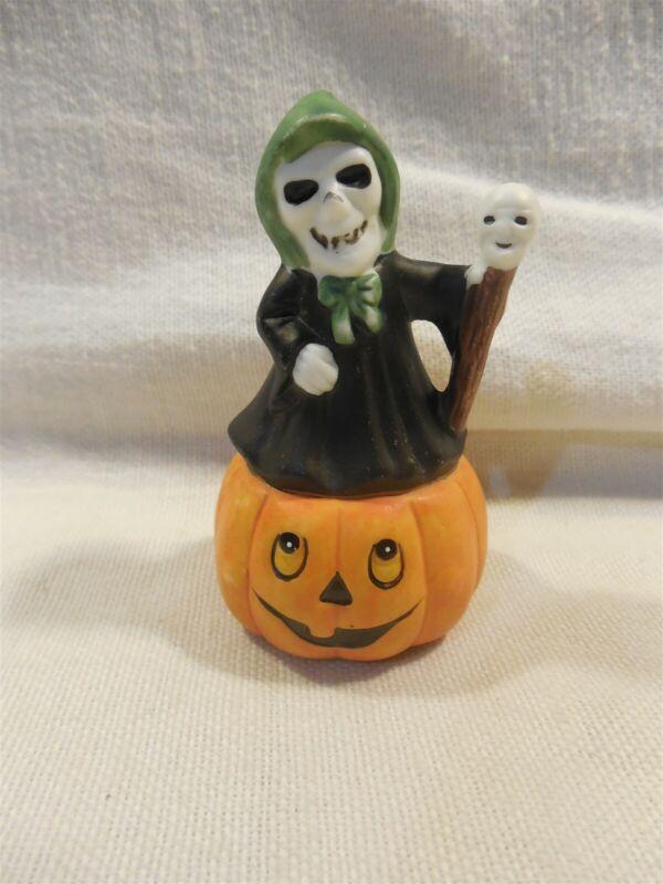"Vintage Japan (?) Ceramic Halloween Skeleton Grim Reaper on Pumpkin Figurine 3"""