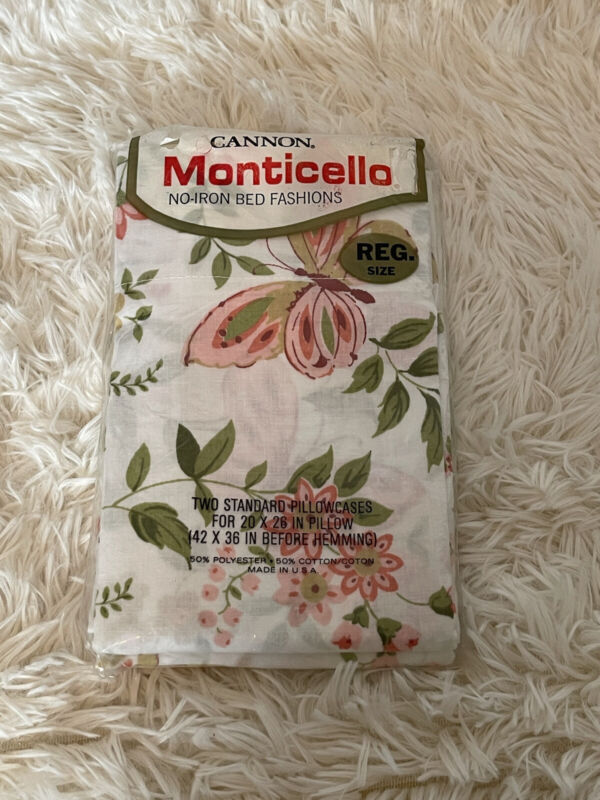 NOS Vintage Stay Fresh Monticello Pillowcases Pink Green Butterfly Flowers 20x26