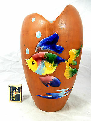 """Asymmetric shaped 50´s Italian """"Alla Moda"""" design  Deruta ? pottery vase 26 cm"""