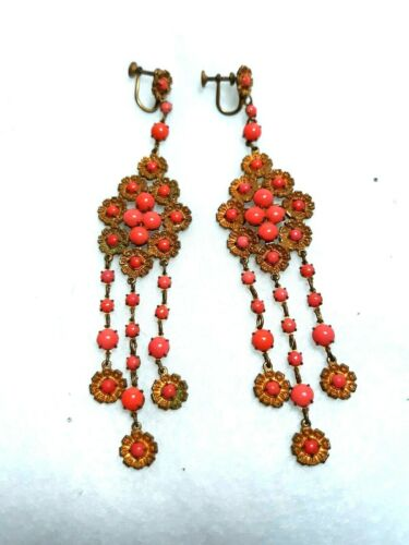 ANTIQUE ART NOUVEAU DECO FAUX CORAL VICTORIAN LONG CHANDELIER OLD EARRINGS