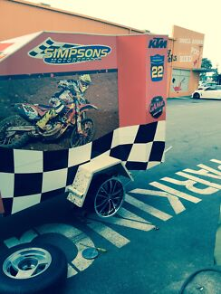Fully enclosed Aluminium  Motorbike trailer and full graphics