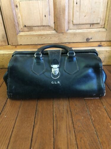 Vintage Antique Medical Doctors Bag Genuine Leather With Key GLR Monogram