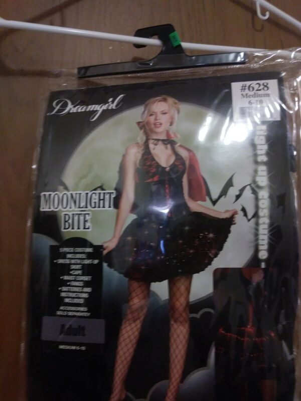 DREAMGIRL MOONLIGHT BITE COSTUME, ADULT MED SIZE 6-10, NEW IN PLASTIC, HALLOWEEN