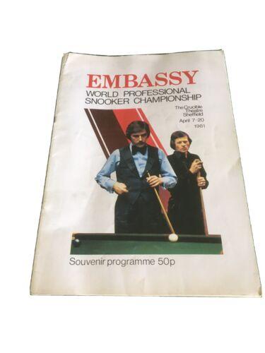 Embassy World Professional Snooker Championship 1981 Programme