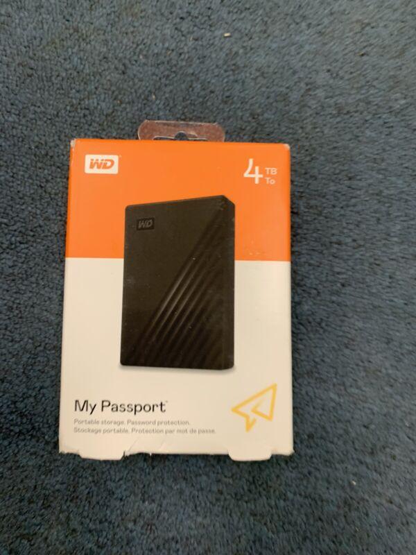 WD My Passport 4TB Black Portable Hard Drive WDBPKJ0040BBK-WESN - NEW