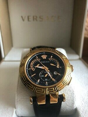 Versace Watch Chronograph Chrono Gold Black 3 Bezel Dial Box £1150