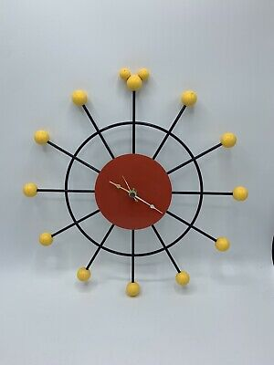 """Mickey Mouse Retro Atomic Ball Wall Clock 12"""" - Black / Yellow / Red"""