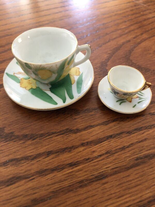 """""""2"""" Vintage Napco Made In Japan Mini/Tiny Tea Cup/saucer """"March"""" Daffodils"""