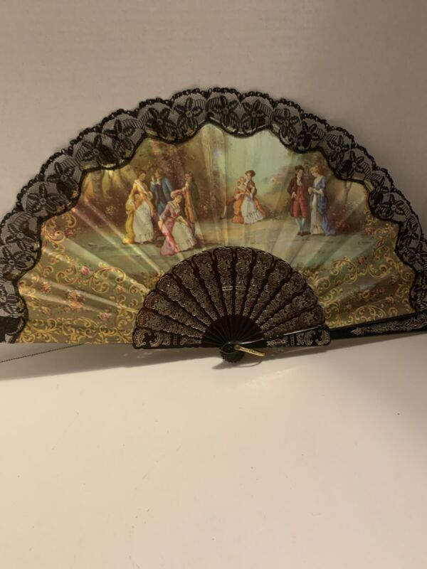 Beautiful Ornate Vintage Victorian Scene Hand Fan Cloth With Scalloped Lace.