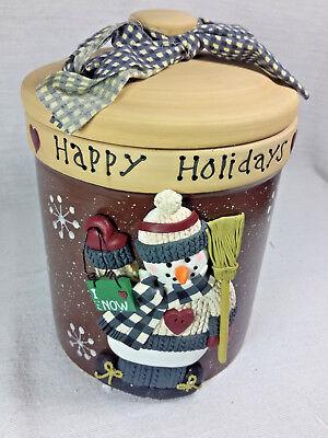 Santas Goodie Box - Happy Holidays Snowman Goody Jar New in Box