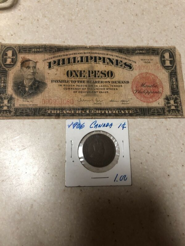 1936 Philippines paper money 1 peso banknote With Canada 1906 One Cent