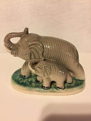 VINTAGE FENG SHUI MOTHER ELEPHANT & BABY ELEPHANT FIGURINE STATUE - JAPAN