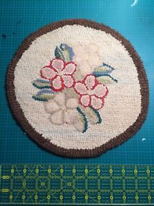 Small Antique Hooked Rug Flowers