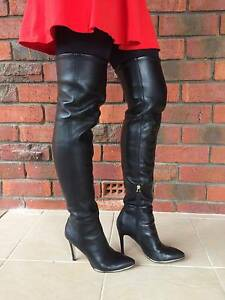 Women Black Guess Zonian Over Knee Thigh High Leather Boots AU6.5 Kardinya Melville Area Preview