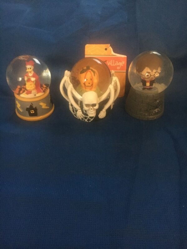 MINI HALLOWEEN SNOW GLOBES X3 HARRY POTTER, DONALD DUCK & SPIDER SKULL NEW