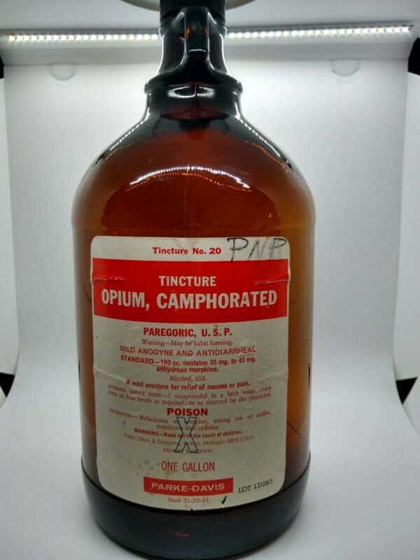 Vintage Opium Gallon Bottle. Great Condition. Parke-Davis. Tincture Opium...