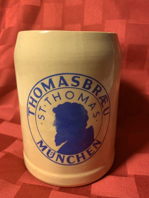 Vintage German Beer Stein Thomasbraeu Munchen Stoneware St Thomas Germany