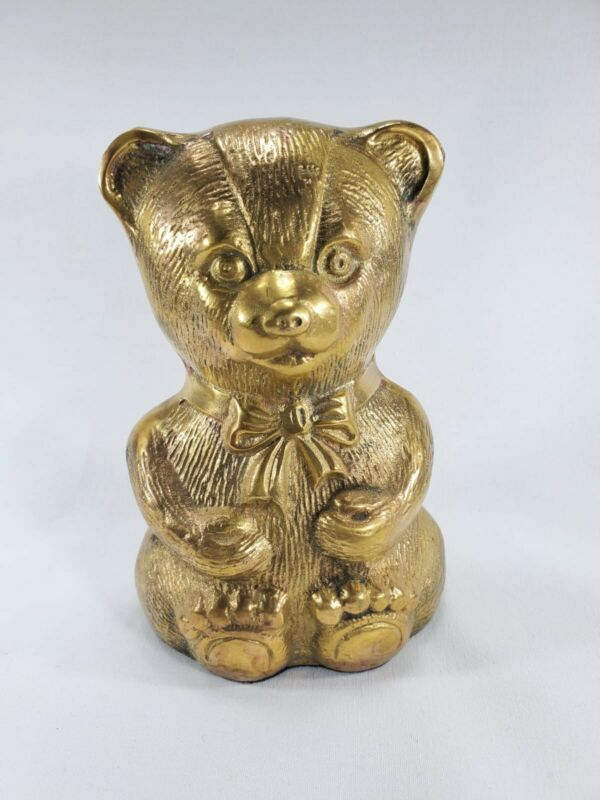 Vintage Solid Brass Bear Paperweights