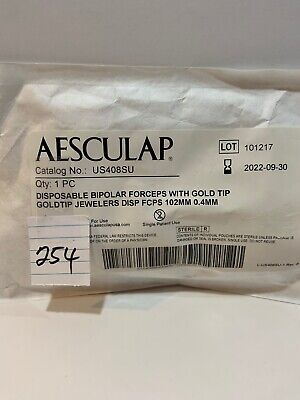 Aesculap Disposable Bipolar Forceps With Gold Tip Us408su Exp 2022-09-30