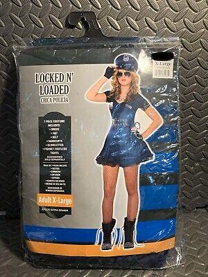 Locked N Loaded Halloween Costume (Adult M POLICE WOMAN Locked N Loaded 7 Pc HALLOWEEN COSTUME Cosplay, BLUE)