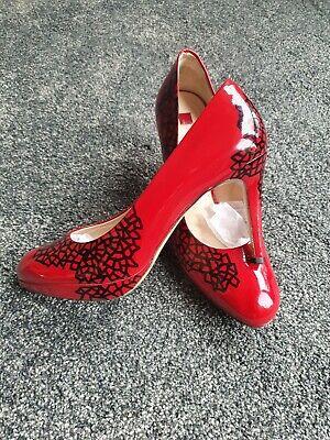 Hogl red & black patent leather stiletto platform shoes, size 6, Vgc