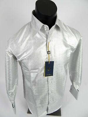 Mens Manzini Shirt White Shiny Silver Diamond Check Cuff Links Button -