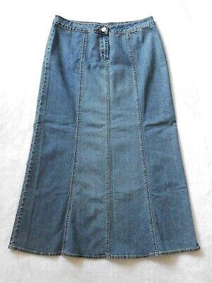 CAbi Paneled Long Denim Jean Skirt Size 10 Womens Stretch Blue Maxi Style#714 Paneled Denim Skirt