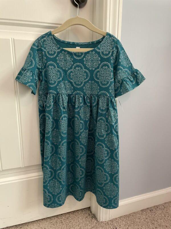 New TEA COLLECTION Girl's 7 Ruffle Sleeve Knit Dress Green Short Sleeve NWT