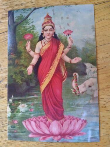 "🌺VINTAGE PRINT LAKSHMI HINDU GODDESS OF WEALTH INDIA RAJA RAVI VARMA 4"" X 6""🌺"
