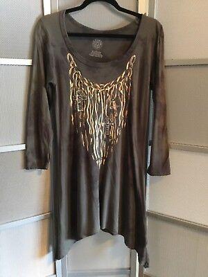 JACK FLASH TEES Long sleeve gray Embellished cross tunic top Sz m/L euc