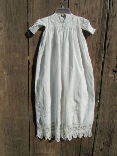 Long Antique Christening Gown, Beautifully Detailed w Hand Crocheted Lacy Trim