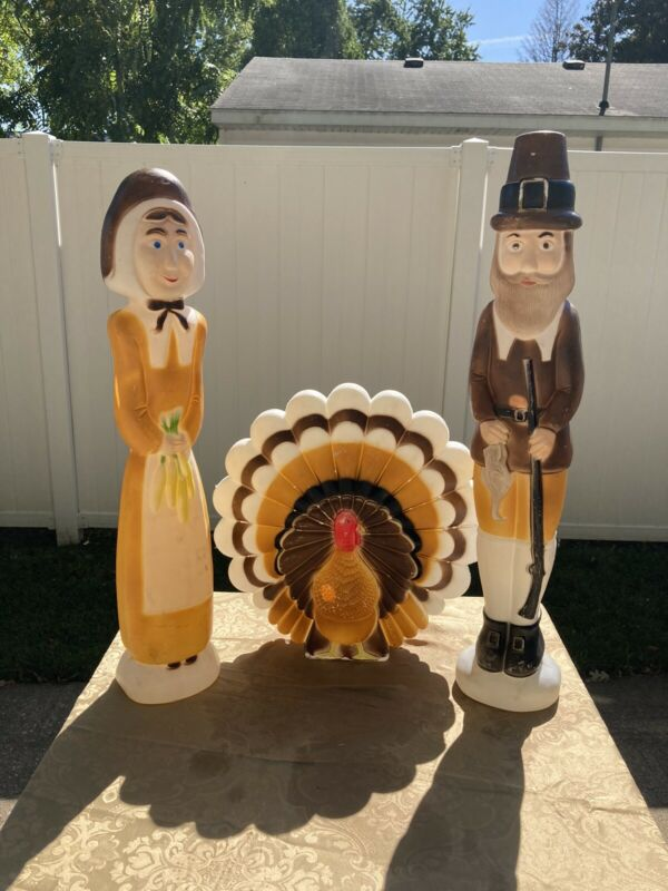 Don Featherstone~Union~Blow Mold Pilgrims & Turkey Thanksgiving Decor