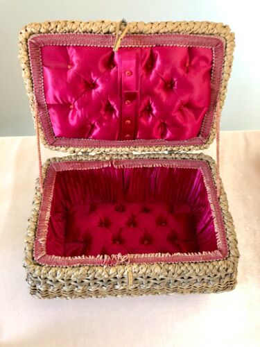 Antique Victorian Sewing Basket Hot Pink Tufted Satin Trinket Box Napoleon III