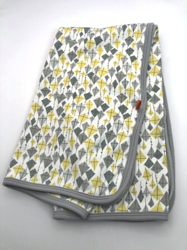 """Magnificent Baby Cotton Blanket Kite Print Gray Yellow Approximately 27""""X29-1/2"""""""