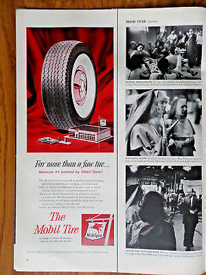 1956 Mobil Oil Gas Ad  The Mobil Tire Service Station Theme