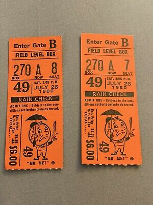 PAIR - 2 NY NEW YORK METS FIELD LEVEL TICKET STUBS JULY 1980 - CINICINNATI REDS
