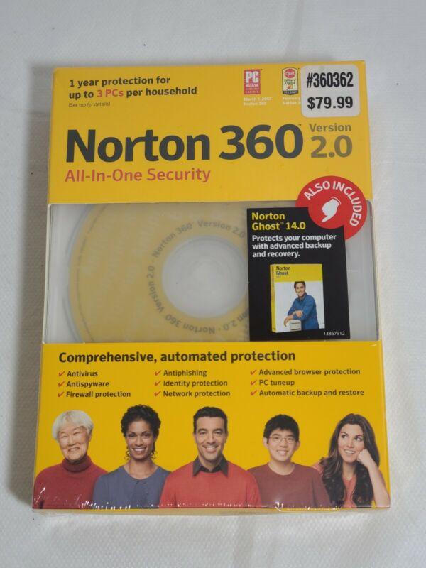 Norton 360 Version 2.0 Protection 3 PCs 1 Year Windows Vista XP w/ Ghost 14.0