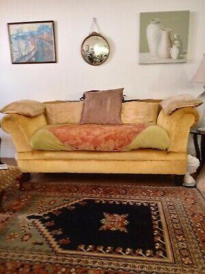 Vintage Sofa, English mustard colour.  Adjustable arms. Good price.