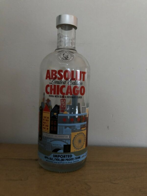 Absolut Chicago 750ml Vodka Bottle-  Contains No Alcohol Limited Edition
