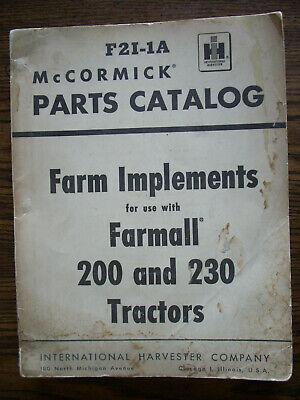 Ih Farmall Mccormick 200 230 Fast Hitch Farm Implements Parts Manual
