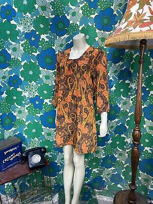 AK38 Vintage Handmade Dress Slip Summer Indian Orange Size 10 12