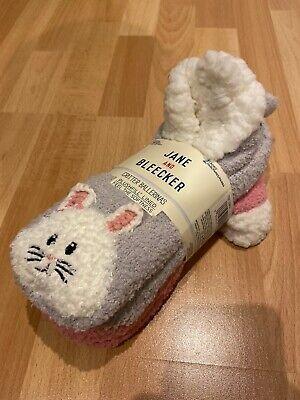 JANE and BLEECKER socks plushfill lined 2 Pairs 1x Pig 1x Cat size 2-8 UK