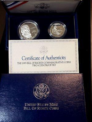 1993  S  Bill Of Rights Commemorative  2 Coin  Silver Proof Set   Ecc C  Inc