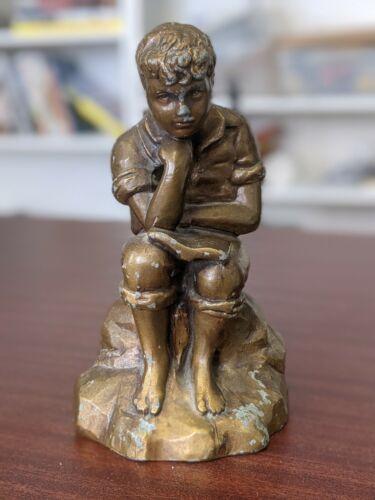 Vintage Library Statue Boy Reading Bronze (ShipWt3lb)